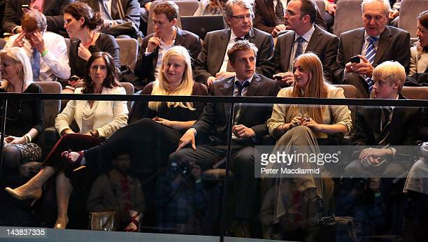 Boris Johnson's family including his wife Marina Wheeler sit in the front row before the announcement of his victory in the London Mayoral election...