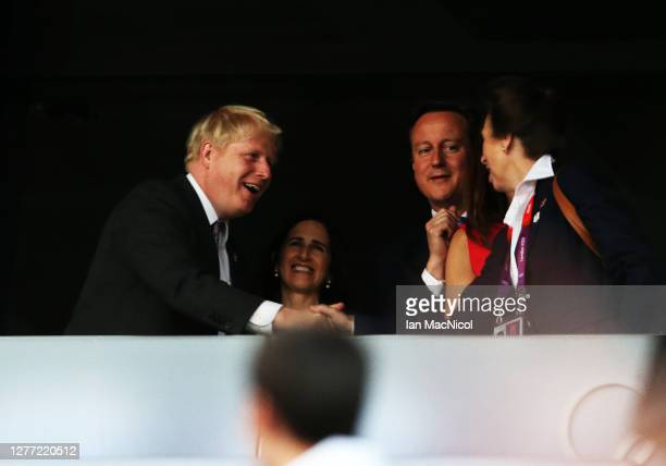 Boris Johnston, David Cameron and HRH Princess Anne are seen during the Opening Ceremony of the London 2012 Olympic Games, directed by Danny Boyle,...