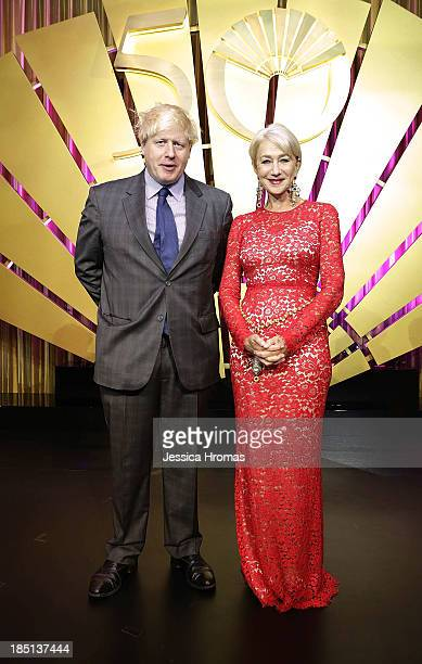 Boris Johson and Dame Helen Mirren at the Mandarin Oriental Hong Kong 50th Anniversary Gala on October 17 2013 in Hong Kong