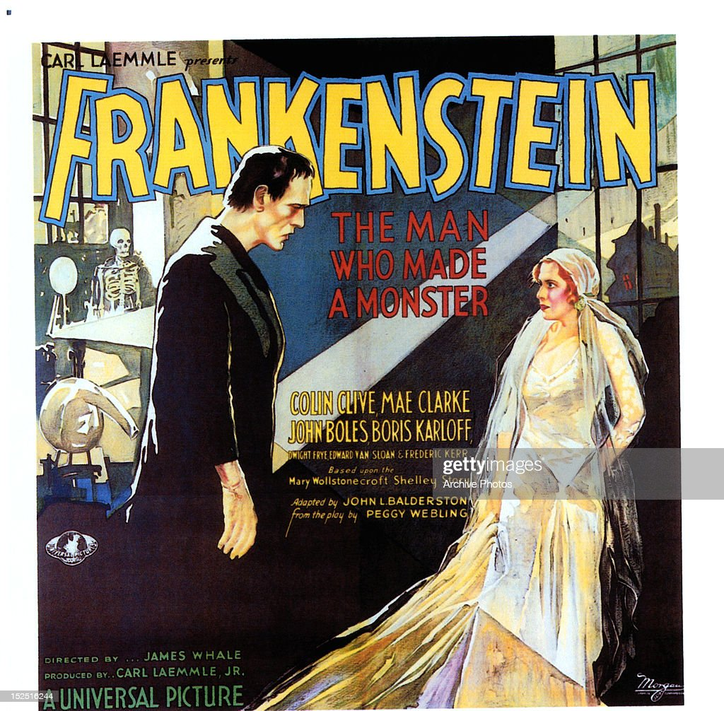 Boris Karloff and Mae Clarke movie art from the film 'Frankenstein', 1931.