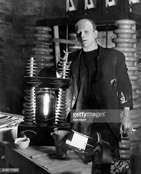 Boris Karloff as the monster in the laboratory Scene from Frankenstein Movie still