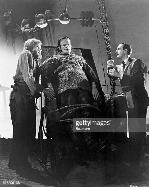 Boris Karloff Basil Rathbone and Bela Lugosi in a scene from the 1939 Universal Pictures production Son of Frankenstein