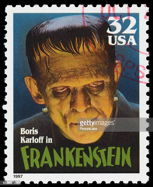 usa boris karloff frankenstein postage stamp - frankenstein stock photos and pictures