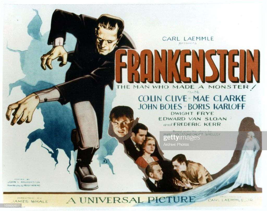 Boris Karloff in movie art for the film 'Frankenstein', 1931.