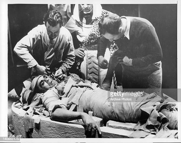Boris Karloff is wrapped in 250 yards of bandages in a scene from the film 'The Mummy' 1932
