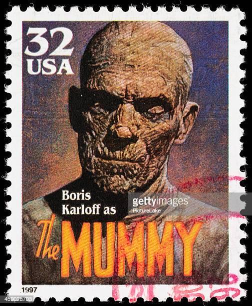 usa boris karloff the mummy postage stamp - mummified stock photos and pictures