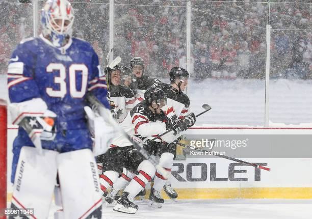 Boris Katchouk of Canada celebrates after scoring a goal on Jake Oettinger of United States in the second period during the IIHF World Junior...