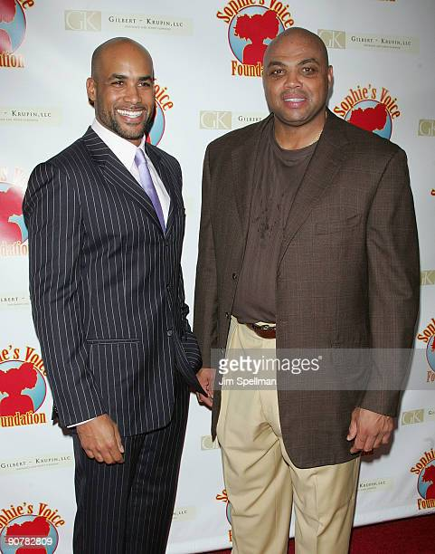 Boris Kodjoe and Charles Barkley attend Cocktails with a Cause benefitting Sophie's Voice Foundation at the Hearst Tower on September 14 2009 in New...