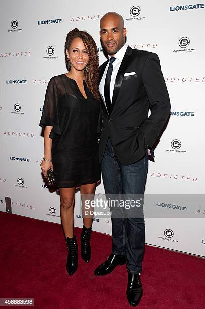 Boris Kodjoe and wife Nicole Ari Parker attend the Addicted New York Premiere at Regal Union Square on October 8 2014 in New York City