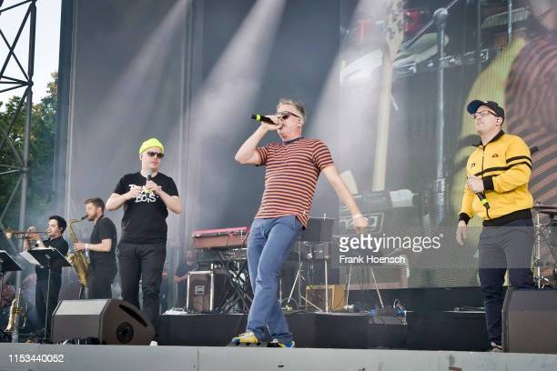 Boris Lauterbach aka Koenig Boris Martin Vandreier aka Dokter Renz and Bjoern Warns aka Bjoern Beton of the German band Fettes Brot perform live on...