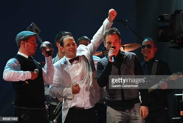 Boris Lauterbach Bjorn Warns and Martin Vandreier of Frette Brot Regional Award Winners for Germany hold their award during the MTV Europe Music...