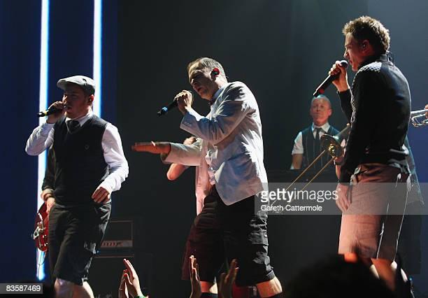 Boris Lauterbach Bjorn Warns and Martin Vandreier of Frette Brot Regional Award Winners for Germany perform during the MTV Europe Music Awards held...