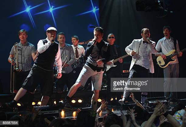 Boris Lauterbach Martin Vandreier and Bjorn Warns of Frette Brot Regional Award Winners for Germany perform during the MTV Europe Music Awards held...