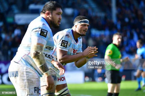 Boris Palu of Racing 92 and Ben Tameifuna of Racing 92 during the Top 14 match between Racing 92 and Montpellier on November 26 2017 in Paris France