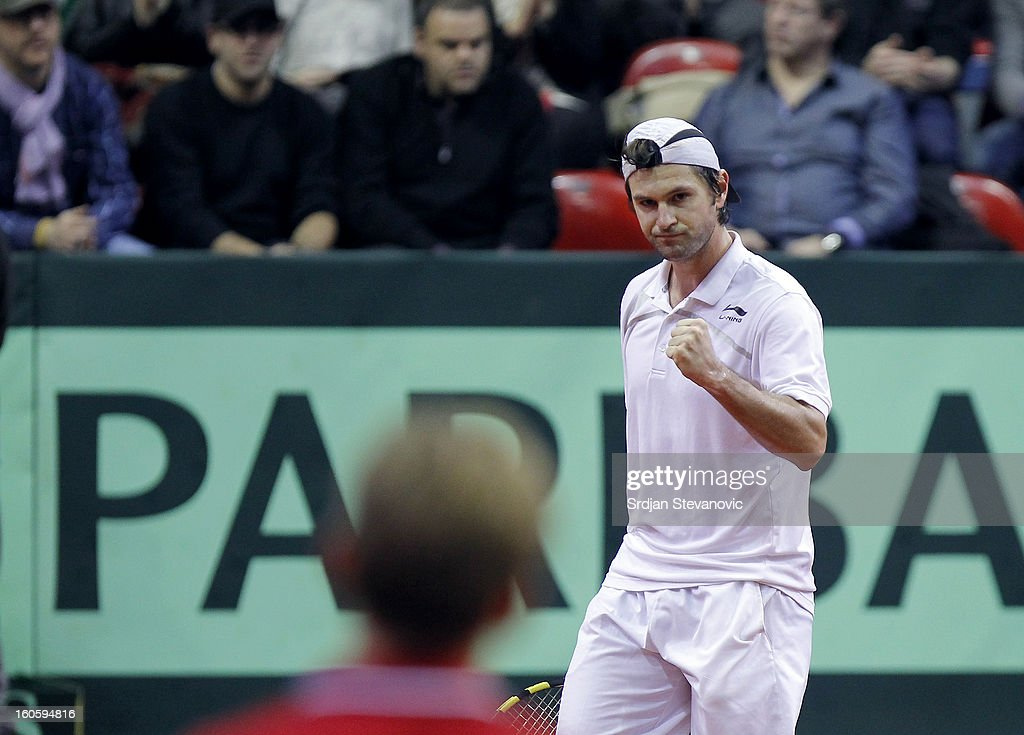 Boris Pasanski of Serbia reacts during the third day of the Davis Cup singles first round match between Belgium and Serbia, at Spirou dome February 03, 2013 in Charleroi, Belgium.