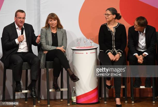Boris Pistorius, Petra Koepping, Nina Scheer and Karl Lauterbach, candidates as chairpersons for the Social Democratic Party SPD, attend the last...