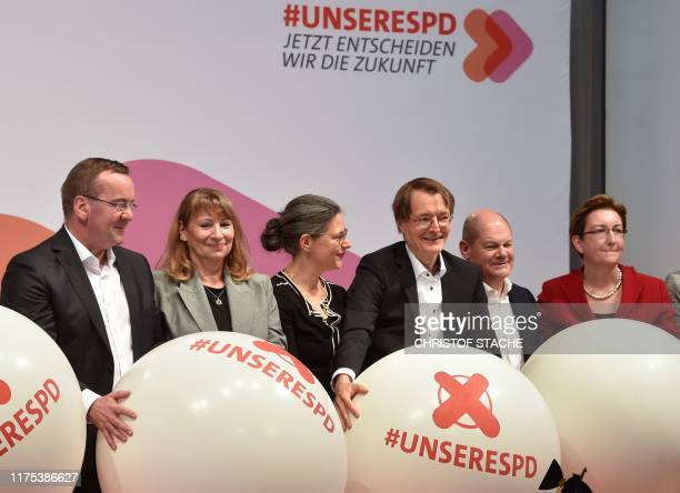 Boris Pistorius, Petra Koepping, Nina Scheer, Karl Lauterbach, Olaf Scholz and Klara Geywitz, candidates as chairpersons for the Social Democratic...