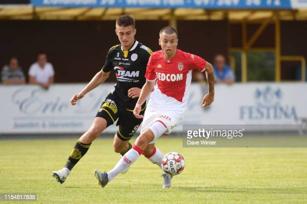 Boris Popovic of Monaco and Anel Hajric of Lokeren during the pre-season friendly match between AS Monaco and KSC Lokeren on July 7, 2019 in...