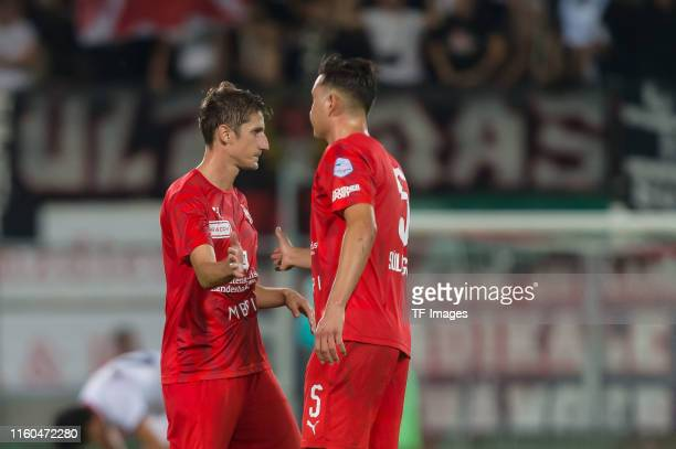 Boris Prokopic of FC Vaduz and Berkay Sueluengoez of FC Vaduz looks dejected during the UEFA Europa League Third Qualifying Round match between FC...