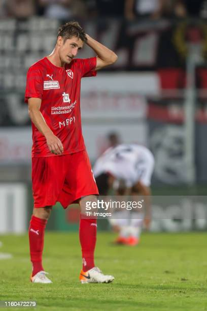 Boris Prokopic of FC Vaduz gestures during the UEFA Europa League Third Qualifying Round match between FC Vaduz and Eintracht Frankfurt on August 8,...