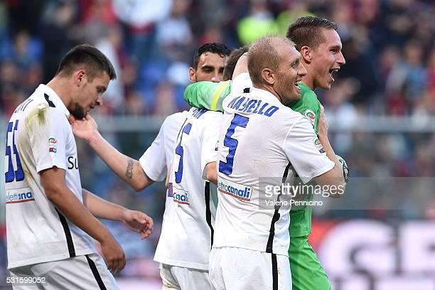 Boris Radunovic and Andrea Masiello of Atalanta BC celebrate victory at the end of the Serie A match between Genoa CFC and Atalanta BC at Stadio...