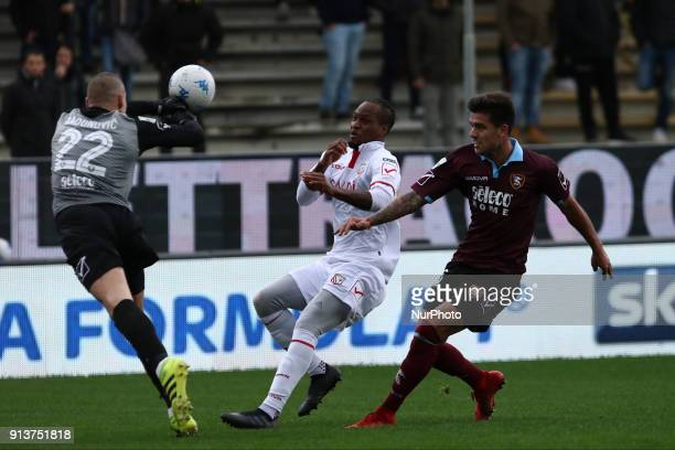 Boris Radunovic vies Jerry Mbakogu during Italy Serie B match between US Salernitana and Carpi FC at Stadium Arechi in Salerno Italy on 2 February...
