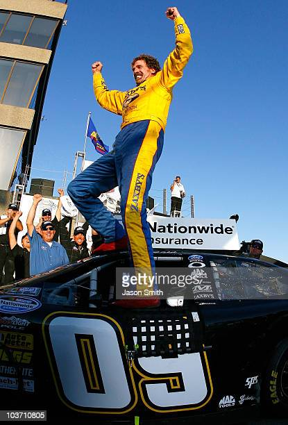 Boris Said, driver of the Zaxby's Ford celebrates in victory lane after winning the NASCAR Nationwide Series Napa Auto Parts 200 on August 29, 2010...