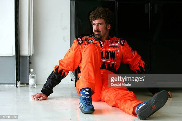 Boris Said of the USA, driver of the Yellow Transportation Dodge Intrepid, looks on from the garage during qualifying for the Telcel Mexico 200...