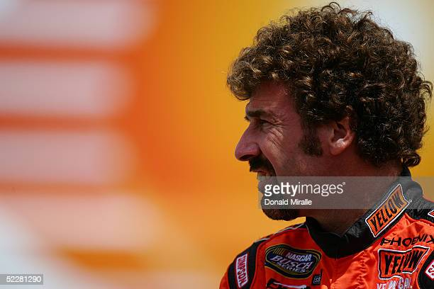 Boris Said of the USA, driver of the Yellow Transportation Dodge Intrepid, looks on during qualifying for the Telcel Mexico 200 Nascar Busch Series...