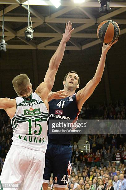 Boris Savovic #41 of FC Bayern Munich in action during the 20132014 Turkish Airlines Euroleague Top 16 Date 8 game between FC Bayern Munich v...
