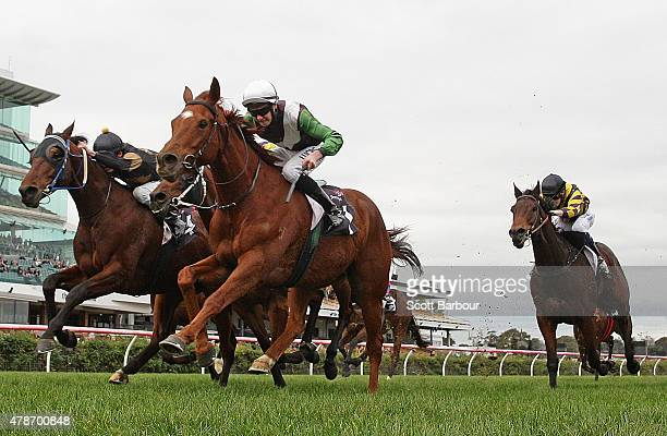 Boris Thornton riding Crafty Cruiser wins race 6 the Banjo Paterson Series Heat 5 during the David Bourke Provincial Plate Day at Flemington...
