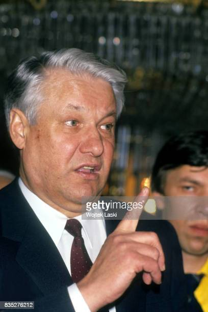 Boris Yeltsin during the campaign before the elections to the Congress of People's Deputies of the Soviet Union. Moscow, USSR, in February 1989.