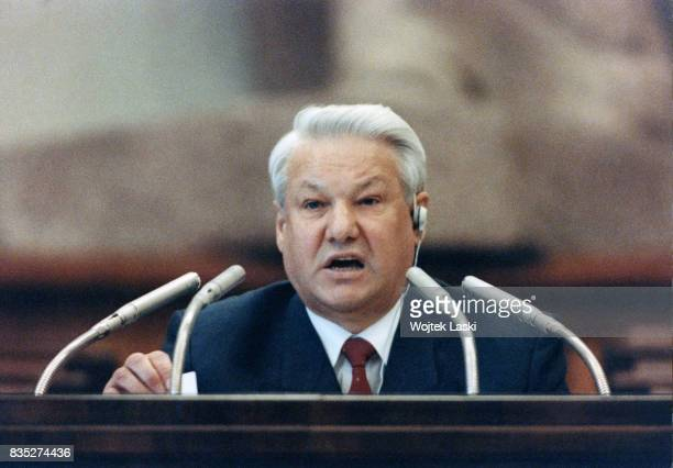 Boris Yeltsin on the first day of the Russian parliament's special sitting which is to determine the procedure of the republic's first presidential...