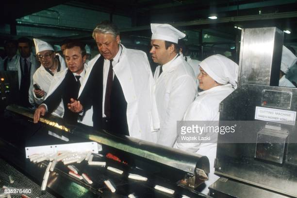 Boris Yeltsin visits a factory during his campaign before the first presidential elections in the Russian Soviet Federative Socialist Republic....