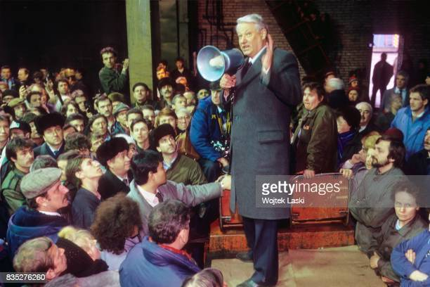 Boris Yeltsin's speech during an electoral rally before the first presidential election in Russia Leningrad USSR in March 1991