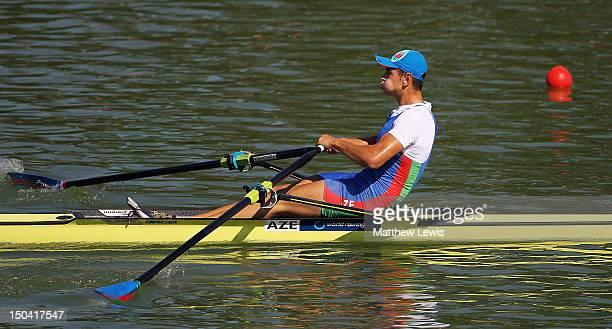 Boris Yotov of Azer of Azerbaijan competes in the Junior Men's Single Sculls Quarter Final during day three of the FISA Rowing World Senior Junior...