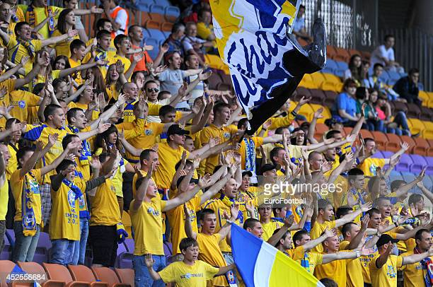 Borisov fans during the Belarusian Premier League match between BATE Borisov and Shakhtyor Soligorsk at the Borsov Arena Stadium on June 12 2014 in...