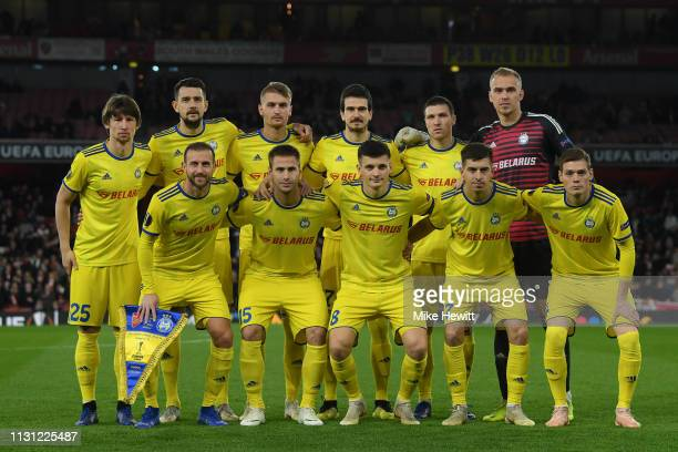 Borisov pose for a team photo ahrad of the UEFA Europa League Round of 32 Second Leg match between Arsenal and BATE Borisov at Emirates Stadium on...
