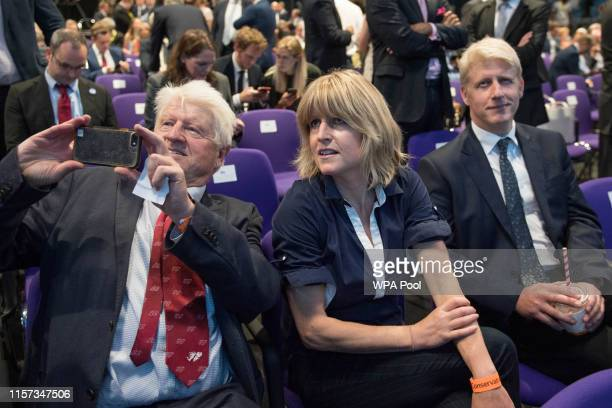 Boris's father Stanley Johnson sister Rachel Johnson and brother Jo Johnson react after Boris Johnson is elected as the new leader of the...