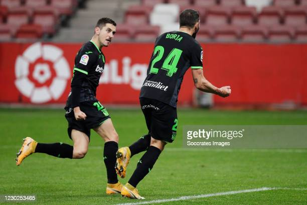 Borja Baston of Leganes celebrates 1-1 with Javi Hernandez of Leganes during the La Liga SmartBank match between Sporting Gijon v Leganes at the El...