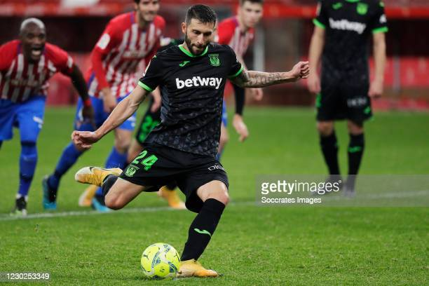 Borja Baston of Leganes scores penalty during the La Liga SmartBank match between Sporting Gijon v Leganes at the El Molinon stadium on December 21,...