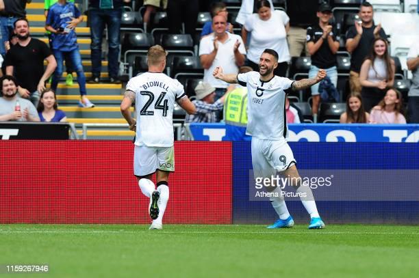 Borja Baston of Swansea City celebrates scoring his side's equalising goal to make the score 11during the Sky Bet Championship match between Swansea...