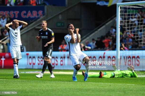 Borja Baston of Swansea City reacts during the Sky Bet Championship match between Swansea City and Birmingham City at the Liberty Stadium on August...