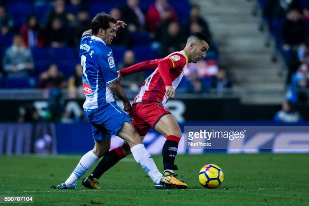 24 Borja Garcia from Spain of Girona FC and 04 Victor Sanchez from Spain of RCD Espanyol during the La Liga match between RCD Espanyol v Girona FC at...