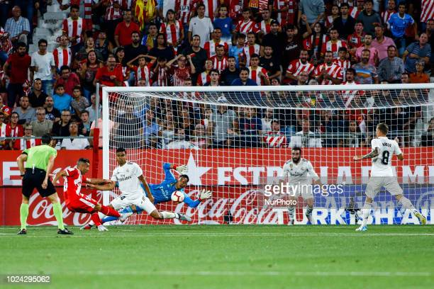 10 Borja Garcia from Spain scoring the goal for Girona FC during the La Liga game between Girona FC against Real Madrid in Montilivi Stadium at...