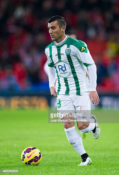 Borja Garcia of Cordoba CF controls the ball during the La Liga match between Athletic Club and Cordoba CF at San Mames Stadium on December 6 2014 in...