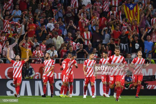 Borja Garcia of Girona FC celebrates after scoring the opening goal during the La Liga match between Girona FC and Real Madrid CF at Montilivi...