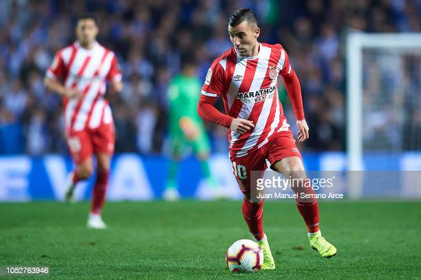 Borja Garcia of Girona FC in action during the La Liga match between Real Sociedad and Girona FC at Estadio Anoeta on October 22 2018 in San...