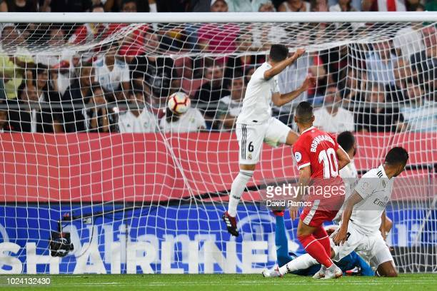 Borja Garcia of Girona FC scores the opening goal during the La Liga match between Girona FC and Real Madrid CF at Montilivi Stadium on August 26...