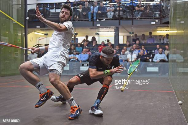 Borja Golan and Daryl Selby collide during the Premier League Round One match between StGeorge's and RAC Borja Golan against Daryl Selby at St...